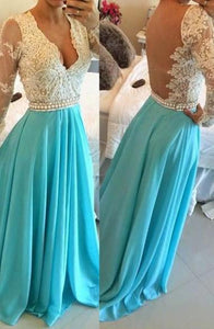 Sexy Ice Blue V-Neck Long Sleeves Chiffon Prom Dresses Lace Evening Dress - EVERISA