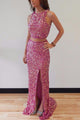 High Quality Dusty Rose Two-piece Side Slit Sequin Prom Dress Long Evening Dress - EVERISA