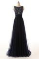 New Black Sleeveless Open Back Tulle Prom Dresses Evening Dresses With Rhinestone - EVERISA