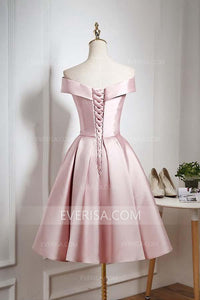 Elegant Light Pink Off Shoulder Satin Homecoming Dress Short Prom Dress with Ruffles - EVERISA