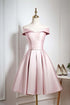 Elegant Light Pink Off Shoulder Satin Homecoming Dress Short Prom Dress with Ruffles