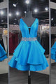 New Dodger Blue V-Neck Open Back Satin Homecoming Dress Prom Dress with Beading - EVERISA