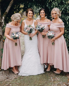 Pink Off Shoulder Sleeveless A Line High Low Satin Bridesmaid Dresses