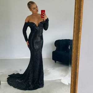 Black Off Shoulder Long Sleeve Prom Dresses Sequin Evening Dresses