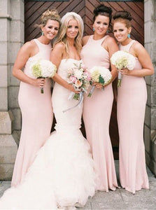 Simple Blush Pink Scoop Neck Floor-Length Satin Evening Dresses Affordable Bridesmaid Dress