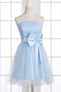 Unique Pale Blue Strapless Empire Waist Satin Mini Dress Prom Dresses With Bowknot - EVERISA