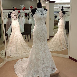 High Neck Lace Applique Mermaid Wedding Dresses Sleeveless Bridal Dresses