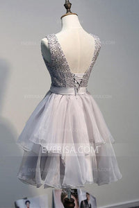 New Grey Scoop Neck Backless Organza Mini Dress Tiered Homecoming Dress - EVERISA
