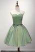 New Dark Sea Green Sweetheart Backless Tulle Short Dress Homecoming Dress With Beading
