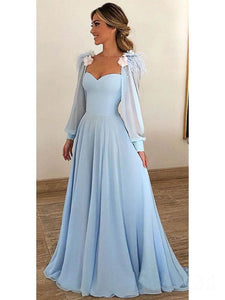 Blue Long Sleeve Sweetheart Prom Dresses A Line Chiffon Evening Dresses