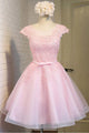 Elegant Pink Scoop Neck Cap Sleeves Tulle Prom Dress Mini Dress With Lace - EVERISA