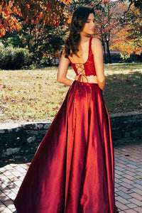 Two Pieces Burgundy Sleeveless Split Prom Dresses Lace Evening Dresses