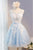 Gorgeous Pale Blue Scoop Neck Sleeveless Tulle Mini Dresses Prom Dress With Lace Appliques - EVERISA