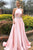 Pink Halter Sleeveless Backless A Line Satin Prom Dresses With Beading