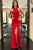 Red Sleeveless Cross Back Mermaid Prom Dresses Side Slit Evening Dresses