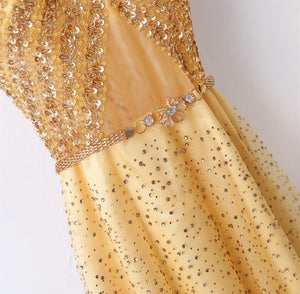 Sparkly V Neck Short Sleeve Prom Dresses Beaded Tulle Evening Dresses