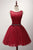 Fashion Burgundy Scoop Neck Open Back Tulle Prom Dress Mini Dress With Beading - EVERISA