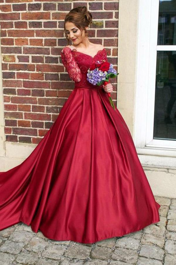 1d2e0d5c8eef Red Long Sleeve V Neck Off Shoulder Prom Dresses Lace Applique Ball Gown