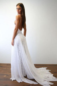 Sexy Spaghetti Straps Backless Lace Wedding Dresses Split Bridal Dresses