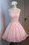 Luxury Pink Sleeveless Open Back Lace Prom Dress Short Cocktail Dress With Beading - EVERISA