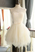 Unique White Scoop Neck Empire Waist Tulle Prom Dress Short Dress With Sash