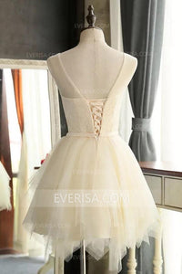 Unique White Scoop Neck Empire Waist Tulle Prom Dress Short Dress With Sash - EVERISA