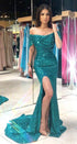 Green Off Shoulder Short Sleeve Prom Dresses Sequin Evening Dresses