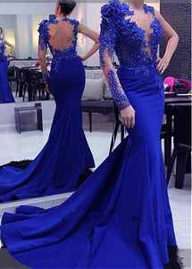 Royal Blue Long Sleeve Mermaid Prom Dresses Lace Beaded Evening Dresses