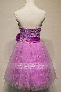 Elegant Dark Orchid A-Line Strapless Tulle Prom Dress Mini Dress With Bowknot - EVERISA