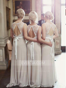 Elegant Champagne Scoop Neck Floor-Length Chiffon Evening Dresses Affordable Bridesmaid Dresses