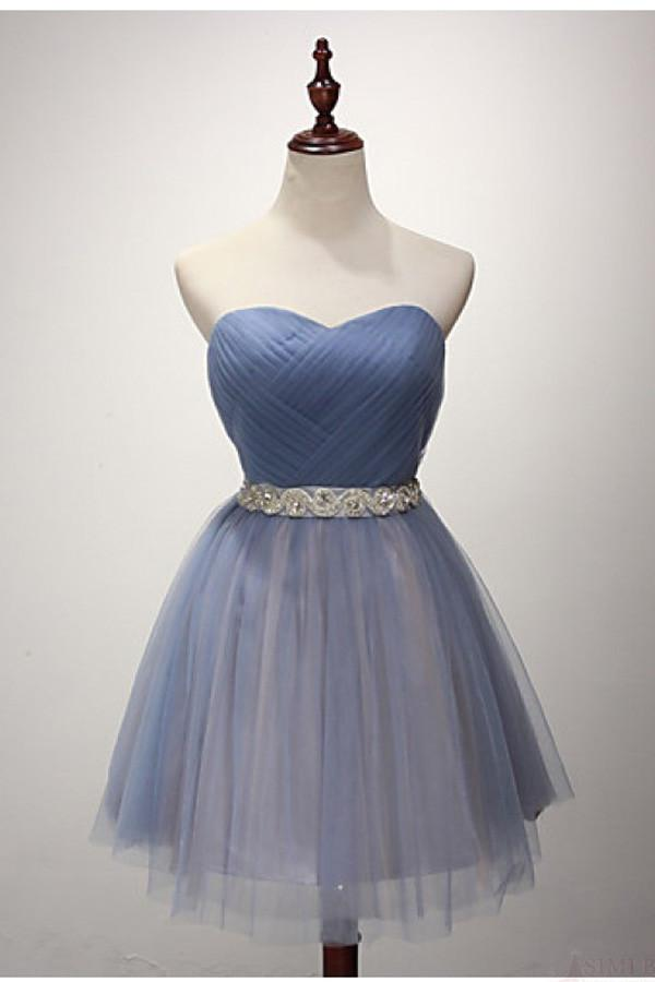 25a8d4d8456 Elegant Sky Blue Strapless Backless Tulle Cocktail Dress Short Prom Dress  With Sash - EVERISA
