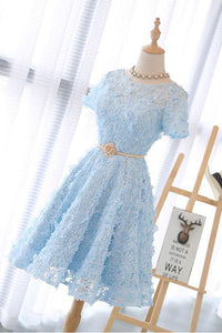 Blue Scoop Neck Short Sleeve Homecoming Dresses Lace Applique Cocktail Dresses
