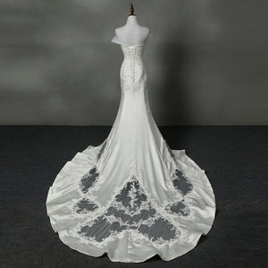 Fashion Strapless Lace Applique Wedding Dresses Mermaid Bridal Gown