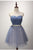 Elegant Sky Blue Strapless Backless Tulle Cocktail Dress Short Prom Dress With Sash - EVERISA