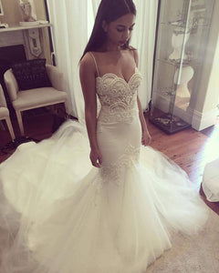 Spaghetti Straps Sweetheart Wedding Dresses Lace Mermaid Bridal Dresses