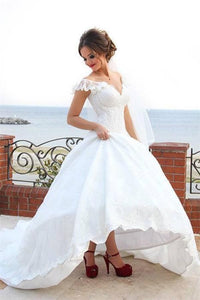 White V Neck Cap Sleeve Wedding Dresses A Line Lace Applique Bridal Gown