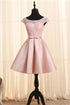 Elegant Blush Pink A-Line Cap Sleeves Backless Satin Prom Dress Affordable Cocktail Dress
