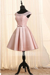 Elegant Blush Pink A-Line Cap Sleeves Backless Satin Prom Dress Affordable Cocktail Dress - EVERISA