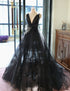 Black V Neck Sleeveless A Line Tulle Long Wedding Dresses With Bowknot