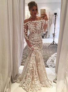 Unique Off Shoulder Long Sleeve Mermaid Wedding Dresses With Lace