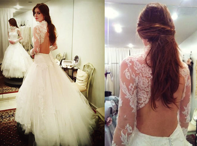 High neck long sleeve lace wedding dresses open back bridal gown