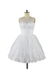 Fashion White Scoop Neck Empire Waist Tulle Prom Dresses Lace Short Dress With Beading - EVERISA