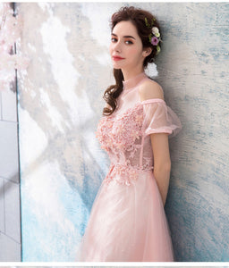 Pink Short Sleeve Lace Appliques Prom Dresses A Line Long Evening Dresses