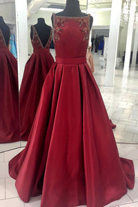 Burgundy Sleeveless Backless Prom Dresses A Line Satin Evening Dresses