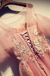 Pink Lace Applique Long Prom Dresses Short Sleeve Evening Dresses