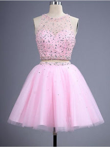 Pink Two Pieces Sleeveless Short Homecoming Dresses With Crystals