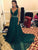 Emerald Green V Neck Sleeveless Beaded Prom Dresses Long Evening Dresses