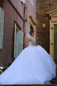 White Long Sleeve Crystals Wedding Dresses A Line Tulle Bridal Dresses