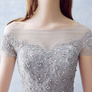Grey Short Sleeve Lace Beaded Prom Dresses A Line Long Evening Dresses