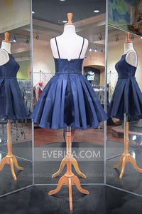 Unique Navy Blue A-Line Open Back Spaghetti Straps Satin Prom Dress Mini Dresses - EVERISA